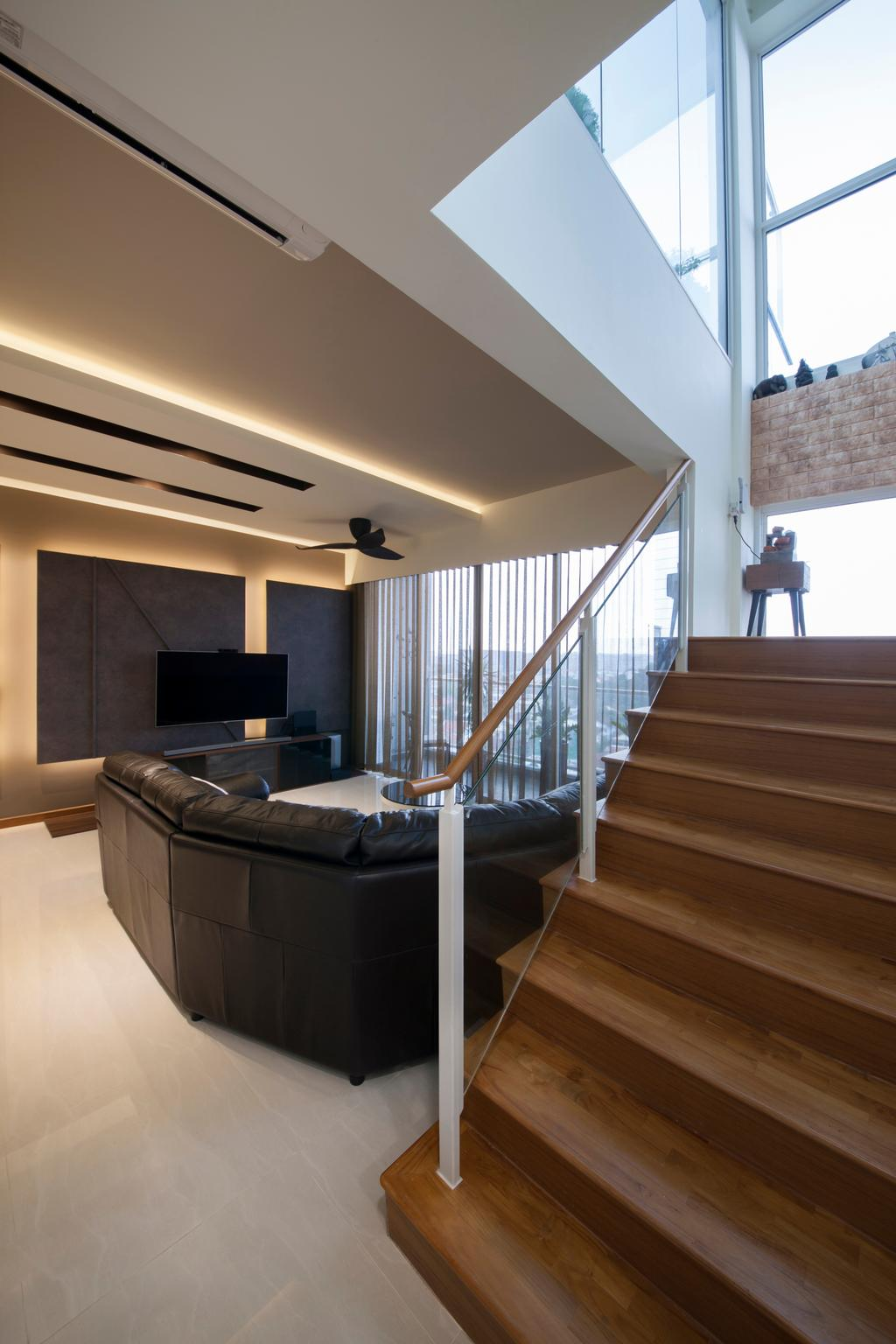 Contemporary, Condo, Living Room, One Canberra, Interior Designer, Edge Interior, Staircase, Stairs, Couch, Furniture, Electronics, Entertainment Center, Home Theater, Hardwood, Wood, Banister, Handrail