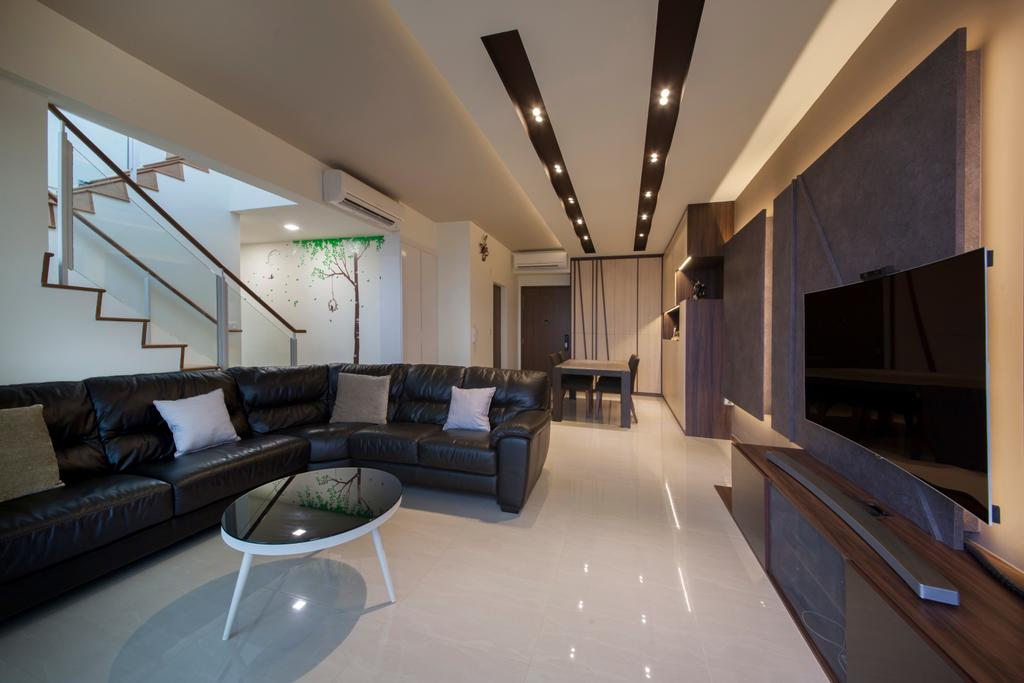 Contemporary, Condo, Living Room, One Canberra, Interior Designer, Edge Interior, Curved Sofa, , Black Sofa, Leather Sofa, Coffee Table, Round Coffee Table, Tv Cabinet, Downlight, Black And White, Floor Tiles, Couch, Furniture, Chair, Indoors, Room, Waiting Room