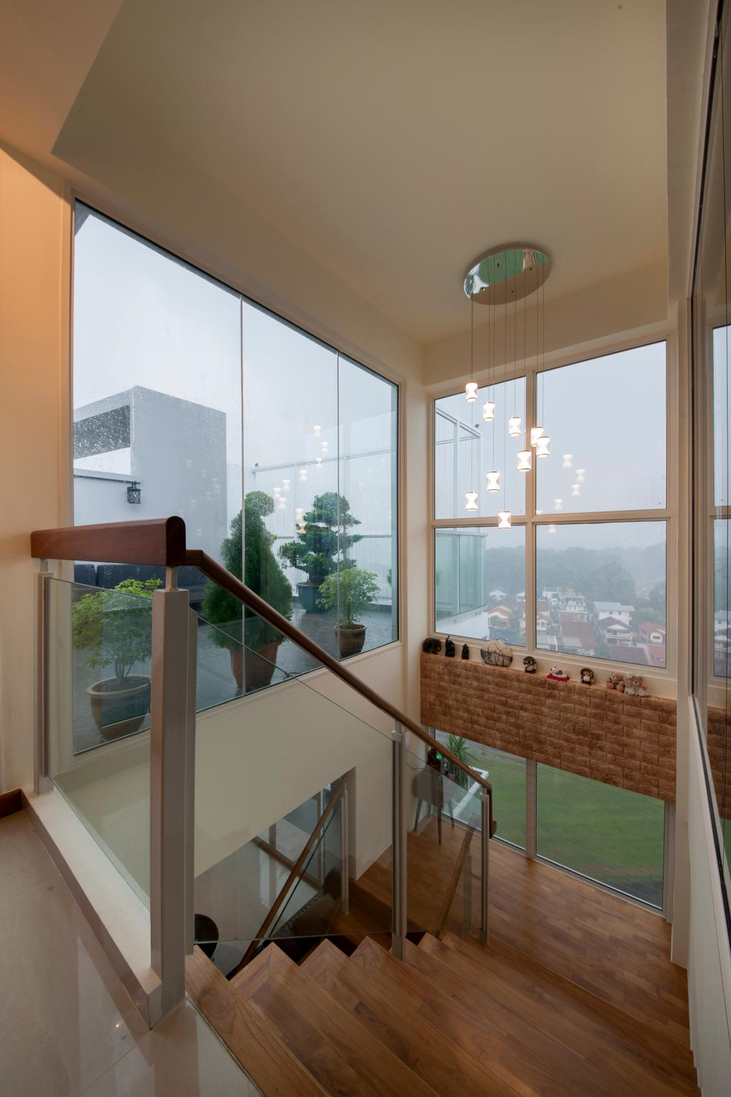 Contemporary, Condo, One Canberra, Interior Designer, Edge Interior, Glass, Glass Partition, Window, Crystal Lights, High Ceiling, Potted Plant, Stairs, Staircase, Flora, Jar, Plant, Pottery, Vase, Bonsai, Tree