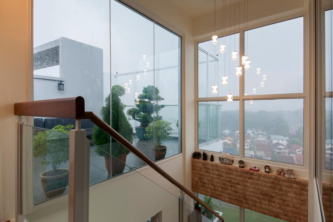 One Canberra, Edge Interior, Contemporary, Condo, Glass, Glass Partition, Window, Crystal Lights, High Ceiling, Potted Plant, Stairs, Staircase, Flora, Jar, Plant, Pottery, Vase, Bonsai, Tree