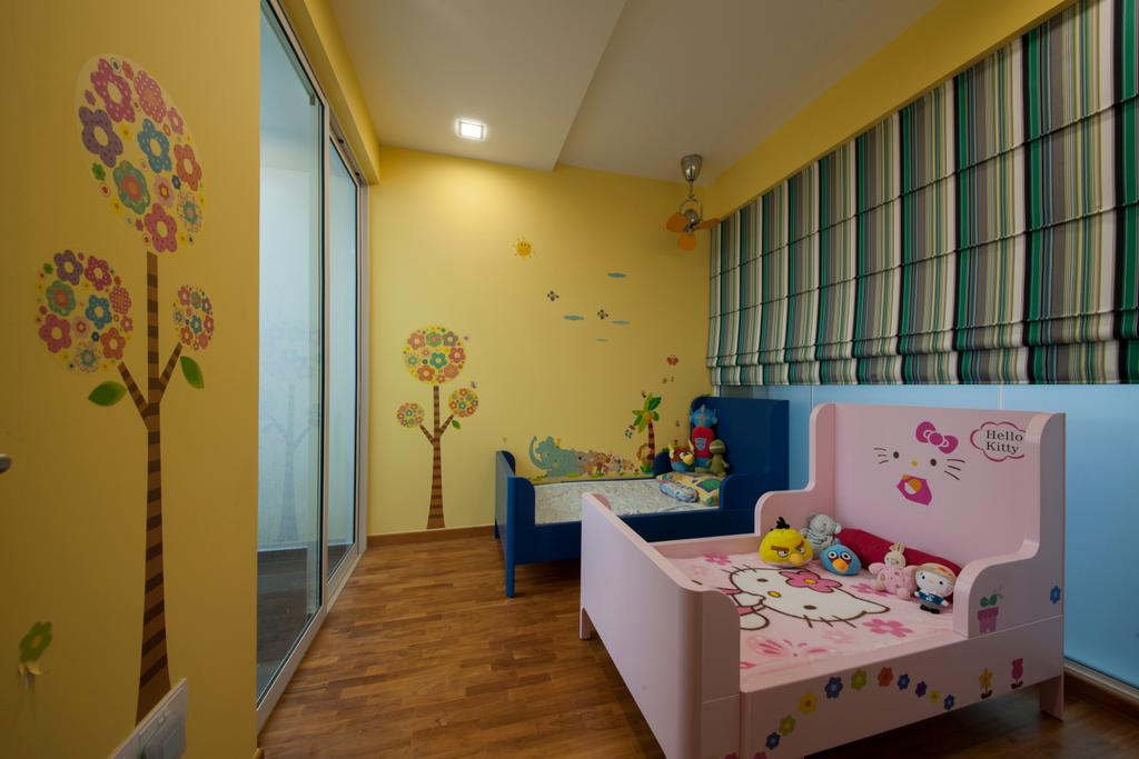 Contemporary, Condo, Bedroom, One Canberra, Interior Designer, Edge Interior, Kids Room, Kids, Unisex, Children, Girls Room, Boys Room, Hello Kitty, Cartoon, Decal, Wall Decal, Yellow Wall, Colours, Colourful, Blinds, Roller Blinds, Indoors, Nursery, Room