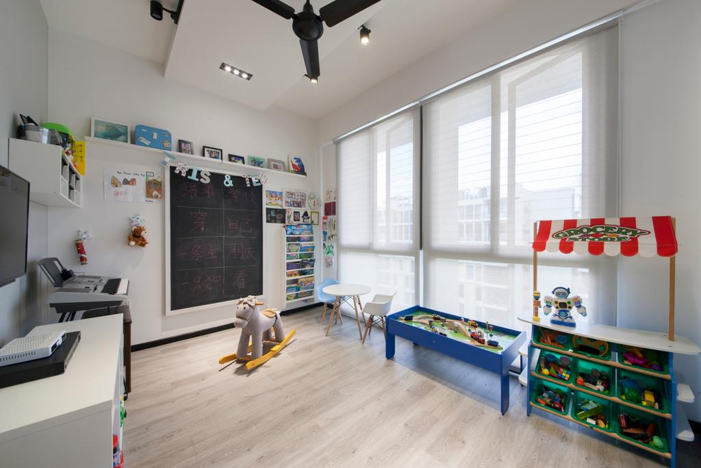 Contemporary, Condo, Bedroom, Parc Vera, Interior Designer, Habit, Kids, Kids Room, Children, Child, Toys, Play Room, Ceiling Fan, Chalkboard, Wall Shelf, Shelving, Photo Frame, Blinds, Roller Blinds, Shelf, Indoors, Interior Design