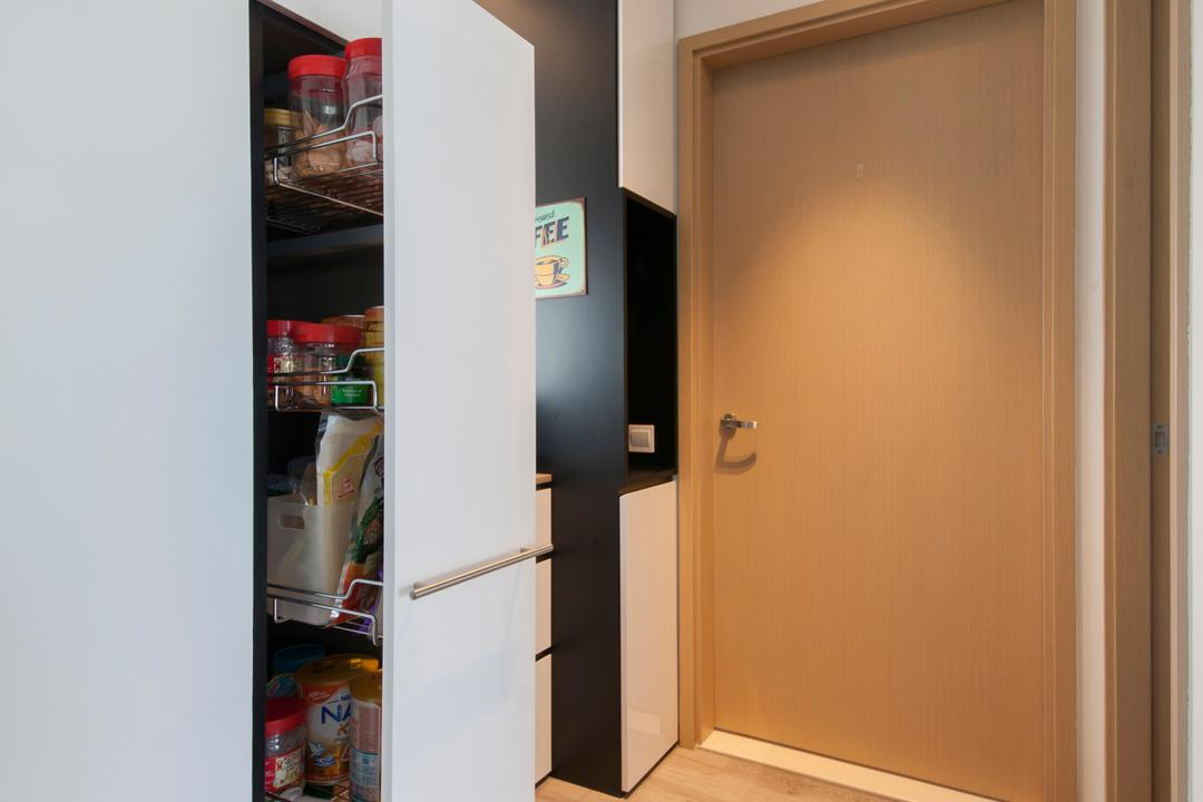 Parc Vera, Habit, Contemporary, Living Room, Condo, Kitchen Cabinet, Pull Out Cabinet, Storage Ideas, Kitchen Storage, Appliance, Electrical Device, Fridge, Refrigerator