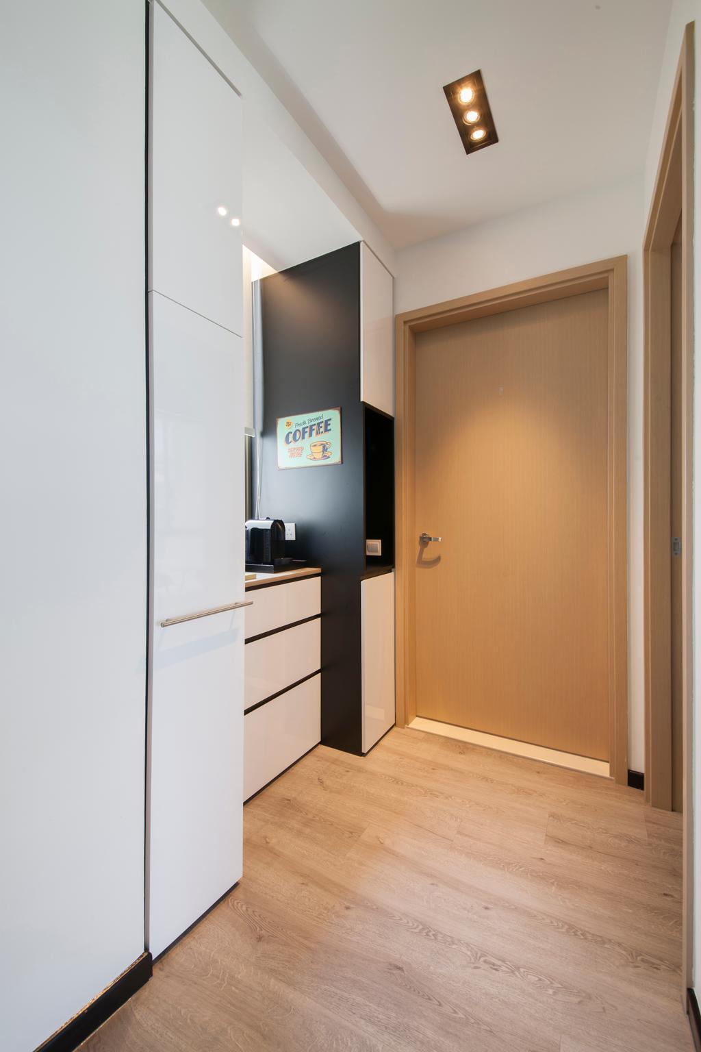 Contemporary, Condo, Living Room, Parc Vera, Interior Designer, Habit, Door, Kitchen Cabinet, Cabinetry, White Cabinet, Sliding Door