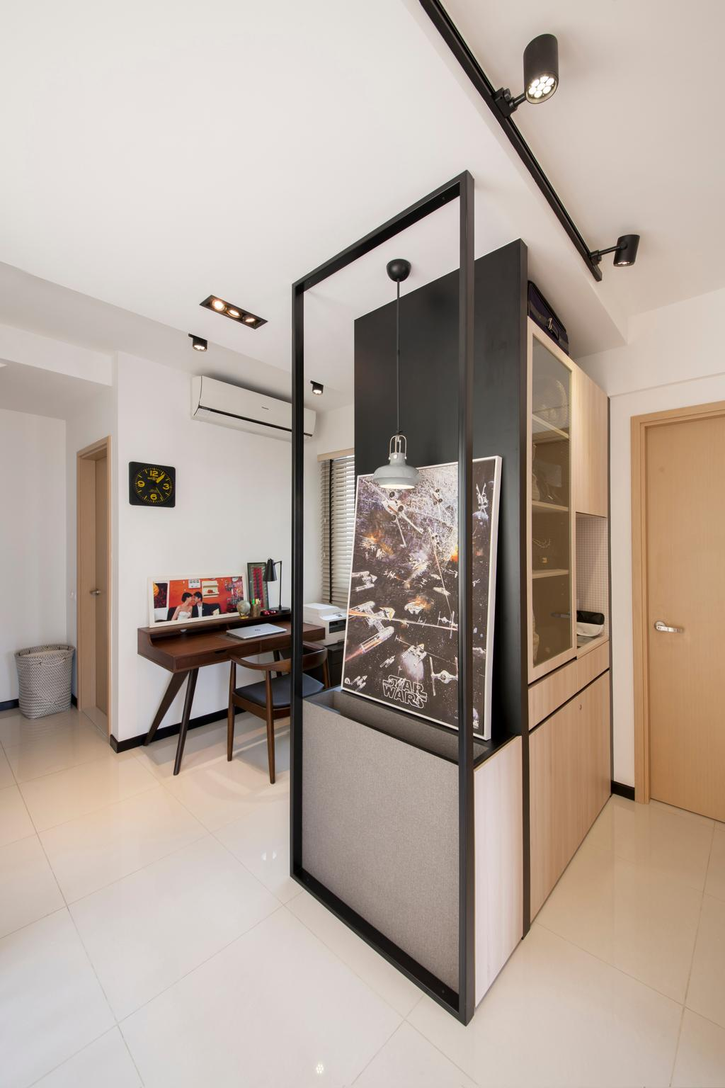 Contemporary, Condo, Living Room, Parc Vera, Interior Designer, Habit, Door, Shoe Cabinet, Partition, Track Lighting, Wall Frame, Painting, HDB, Building, Housing, Indoors, Dining Table, Furniture, Table