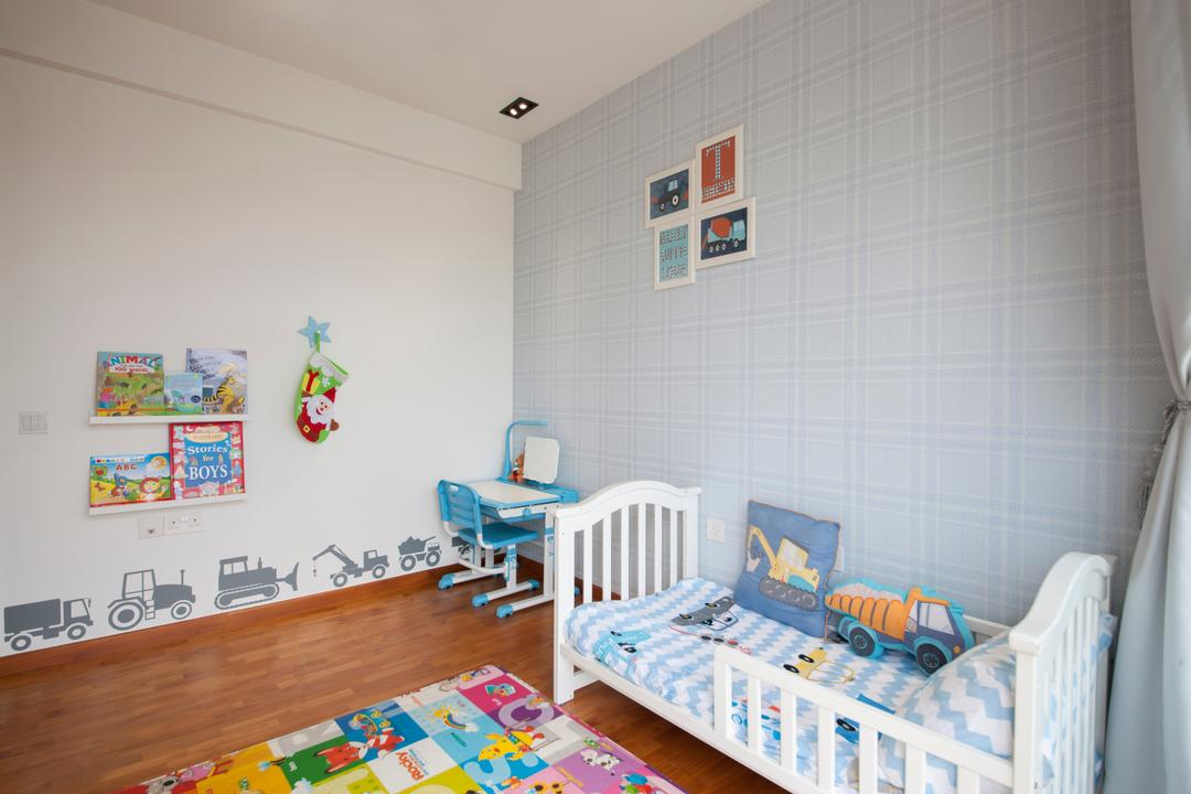 Parc Vera, Habit, Contemporary, Bedroom, Condo, Soft Colours, Soft Blue, Light Blue, Decal, Colourful, Colours, Fun, Cute, Small Bed, Indoors, Nursery, Room, Crib, Furniture
