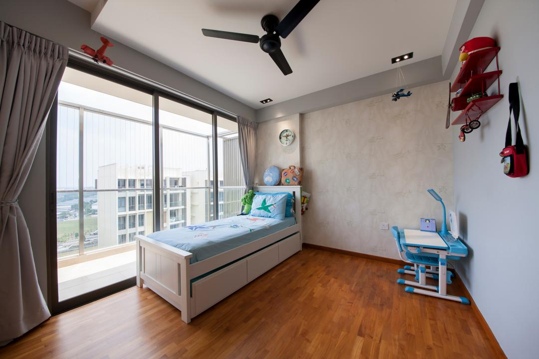 Parc Vera, Habit, Contemporary, Bedroom, Condo, Single Bed, Bed With Stroage, Fan, Black Ceiling Fan, Kids Room, Kids, Wood Floor, Wooden Flooring, Propeller, Flooring, Aircraft, Airplane, Biplane, Transportation, HDB, Building, Housing, Indoors, Loft