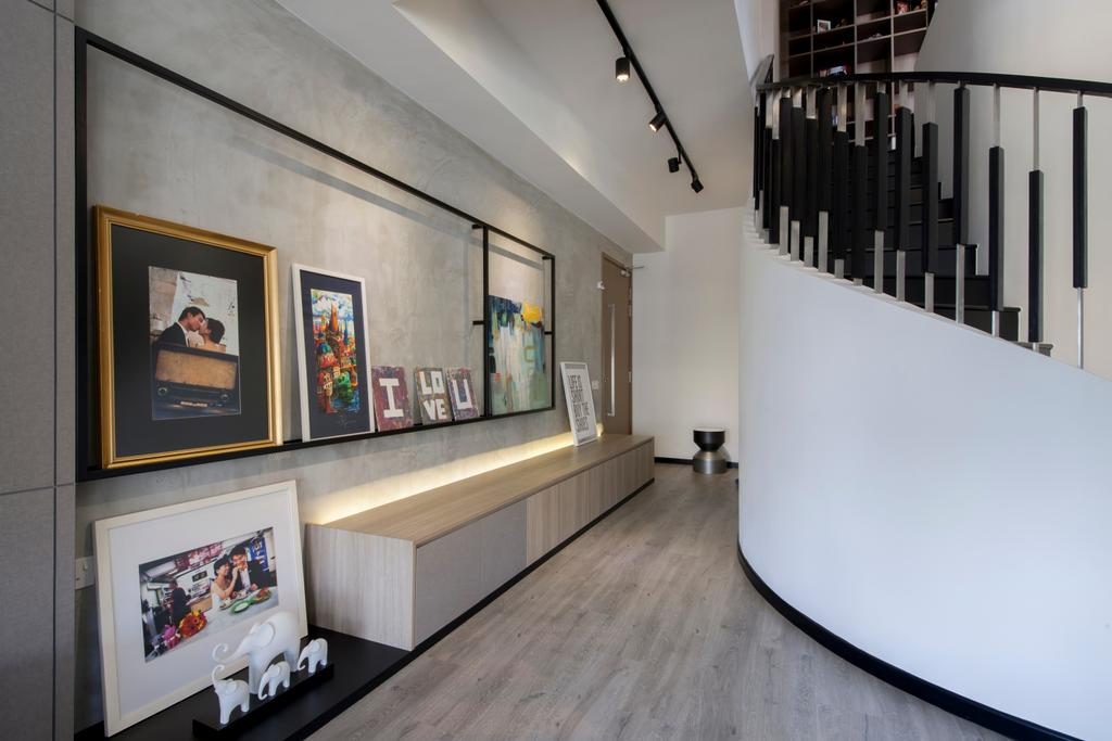 Contemporary, Condo, Living Room, Parc Vera, Interior Designer, Habit, Wall Frame, Photo Frame, Gallery Wall, Track Lighting, Cabinet, Side Cabinet, Seat Bench, Bench Cabinet, Spiral Staircase, Stairs, Grey Wall, Concealed Lighting, Walkway, Hallway, Art, Art Gallery, Banister, Handrail, Staircase