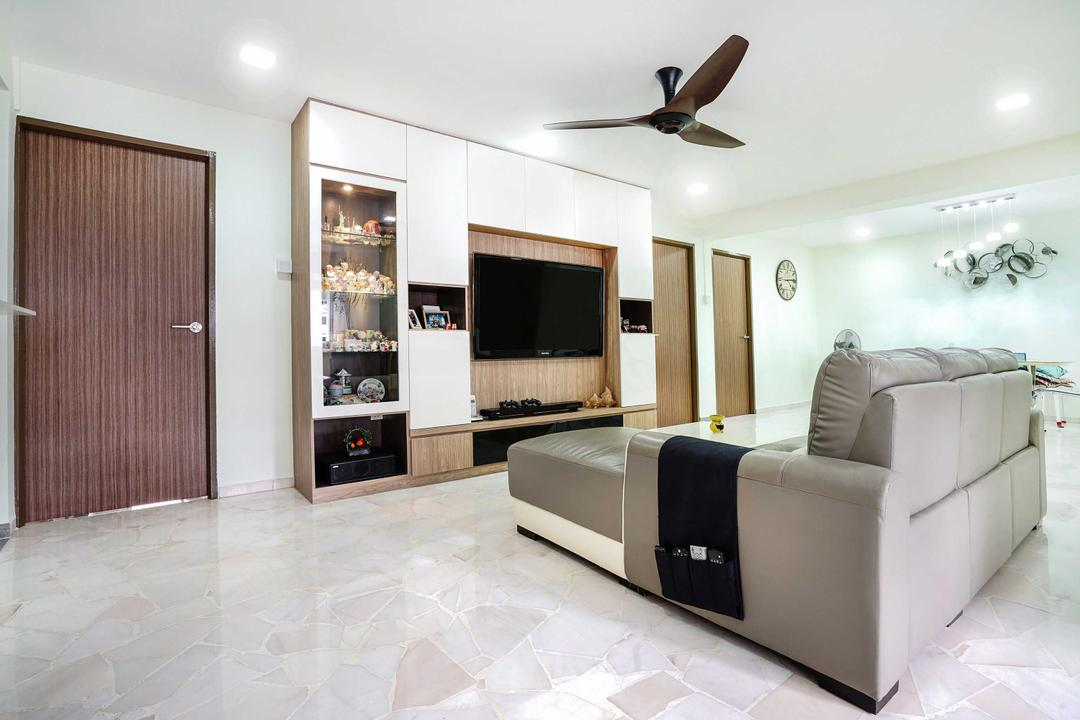 Pasir Ris (Block 487), Cozy Ideas Interior Design, Minimalistic, Living Room, HDB, Sofa, Grey Sofa, Ceiling Fan, Feature Wall, Tv Console, Tv Cabinet, Display, Collectible, White And Wood, Door, Floor Tiles, Couch, Furniture, Indoors, Interior Design, Electronics, Entertainment Center, Animal, Bird, Swallow