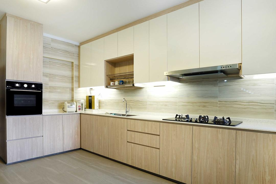 Pasir Ris (Block 487), Cozy Ideas Interior Design, Minimalistic, Kitchen, HDB, Kitchen Cabinet, Cabinetry, Under Cabinet Lighting, Light Wood, White And Wood, Exhaust Hood, Stove, Kitchen Rack, Kitchen Sink, Oven, Indoors, Interior Design, Room, Appliance, Electrical Device