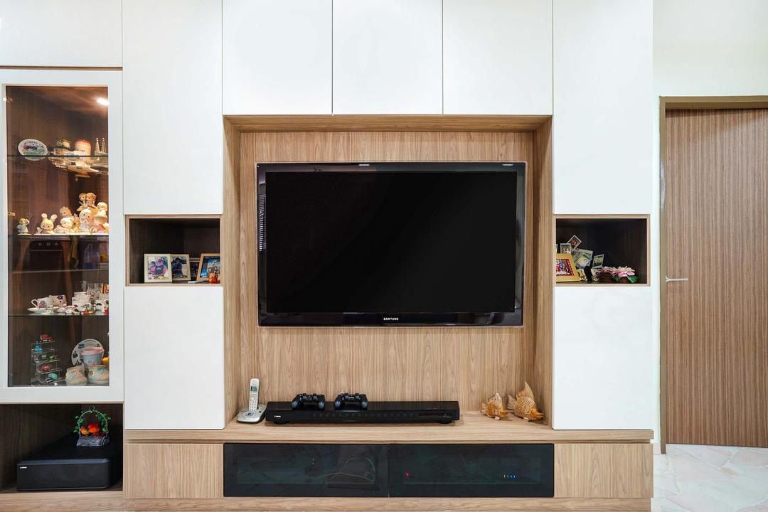 Pasir Ris (Block 487), Cozy Ideas Interior Design, Minimalistic, Living Room, HDB, White And Wood, Feature Wall, Tv Console, Recessed Shelves, Display Cabinet, Tv, Electronics, Entertainment Center, Lcd Screen, Monitor, Screen