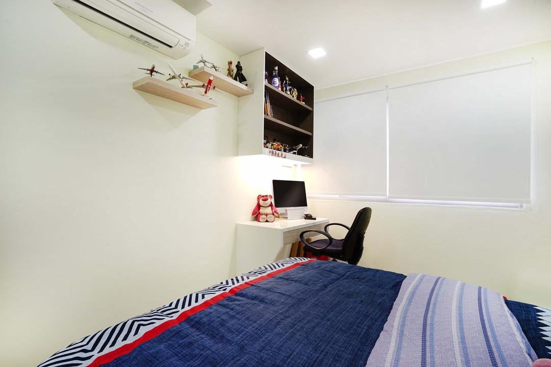 Pasir Ris (Block 487), Cozy Ideas Interior Design, Minimalistic, Bedroom, HDB, Study Table, Office Chair, Top Cabinet, Wall Ledge, Wall Shelf, Shelf