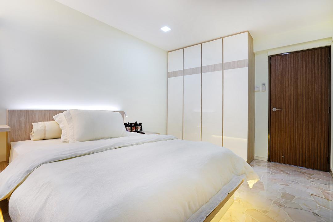 Pasir Ris (Block 487), Cozy Ideas Interior Design, Minimalistic, Bedroom, HDB, White Bed, White Bedroom, Wardrobe, White Wardrobe, Bed Ledge, Door, Indoors, Interior Design, Room, Bed, Furniture