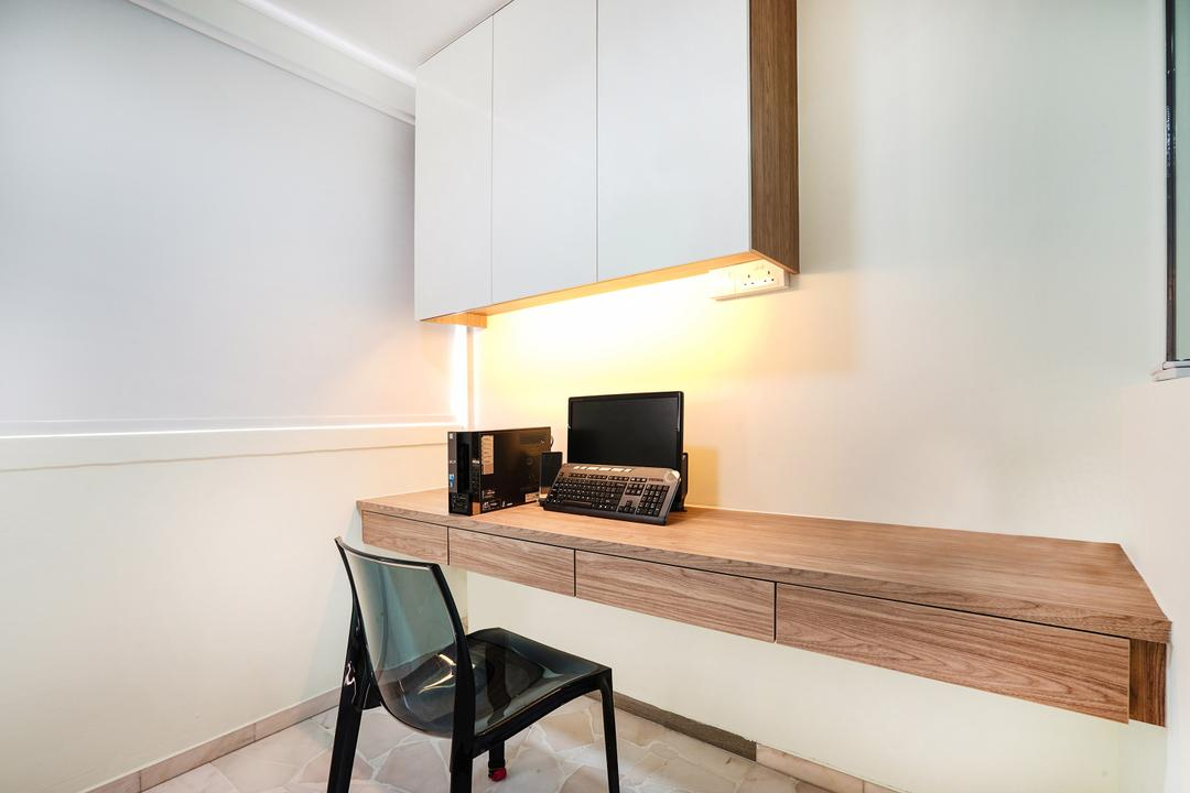 Pasir Ris (Block 487), Cozy Ideas Interior Design, Minimalistic, Study, HDB, Study Table, Laptop, Chair, Black Chair, Roller Blinds, Blinds, Under Cabinet Lighting, Top Cabinet, Computer, Electronics, Pc, Furniture, Dining Table, Table
