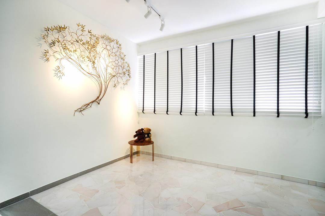 Pasir Ris (Block 487), Cozy Ideas Interior Design, Minimalistic, Living Room, HDB, Home Decor, Wall Decor, Lighting, Unique Lighting, White, All White, , Venetian Blinds, Blinds, Floor Tiles, White Tiles