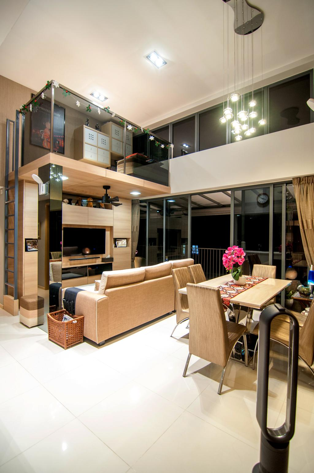 Contemporary, Condo, Living Room, Blossom Residences (Block 30), Interior Designer, IdeasXchange, High Ceiling, Loft, Downlight, Hanging Lamp, Dining Table, Dining Chairs, , Chairs, Brown Furniture, Couch, Furniture, Table, Electronics, Entertainment Center, Restaurant, Sink