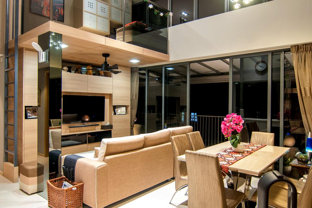 Blossom Residences (Block 30), IdeasXchange, Contemporary, Living Room, Condo, High Ceiling, Loft, Downlight, Hanging Lamp, Dining Table, Dining Chairs, , Chairs, Brown Furniture, Couch, Furniture, Table, Electronics, Entertainment Center, Restaurant, Sink