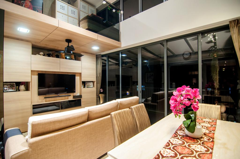 Contemporary, Condo, Living Room, Blossom Residences (Block 30), Interior Designer, IdeasXchange, Dining Table, Table Runner, Flowers, Light Wood, Light Brown, Feature Wall, Tv Console, Ceiling Fan, Loft, High Ceiling, Simple Colours, Shelving, Downlight, Window, Couch, Furniture, Electronics, Entertainment Center