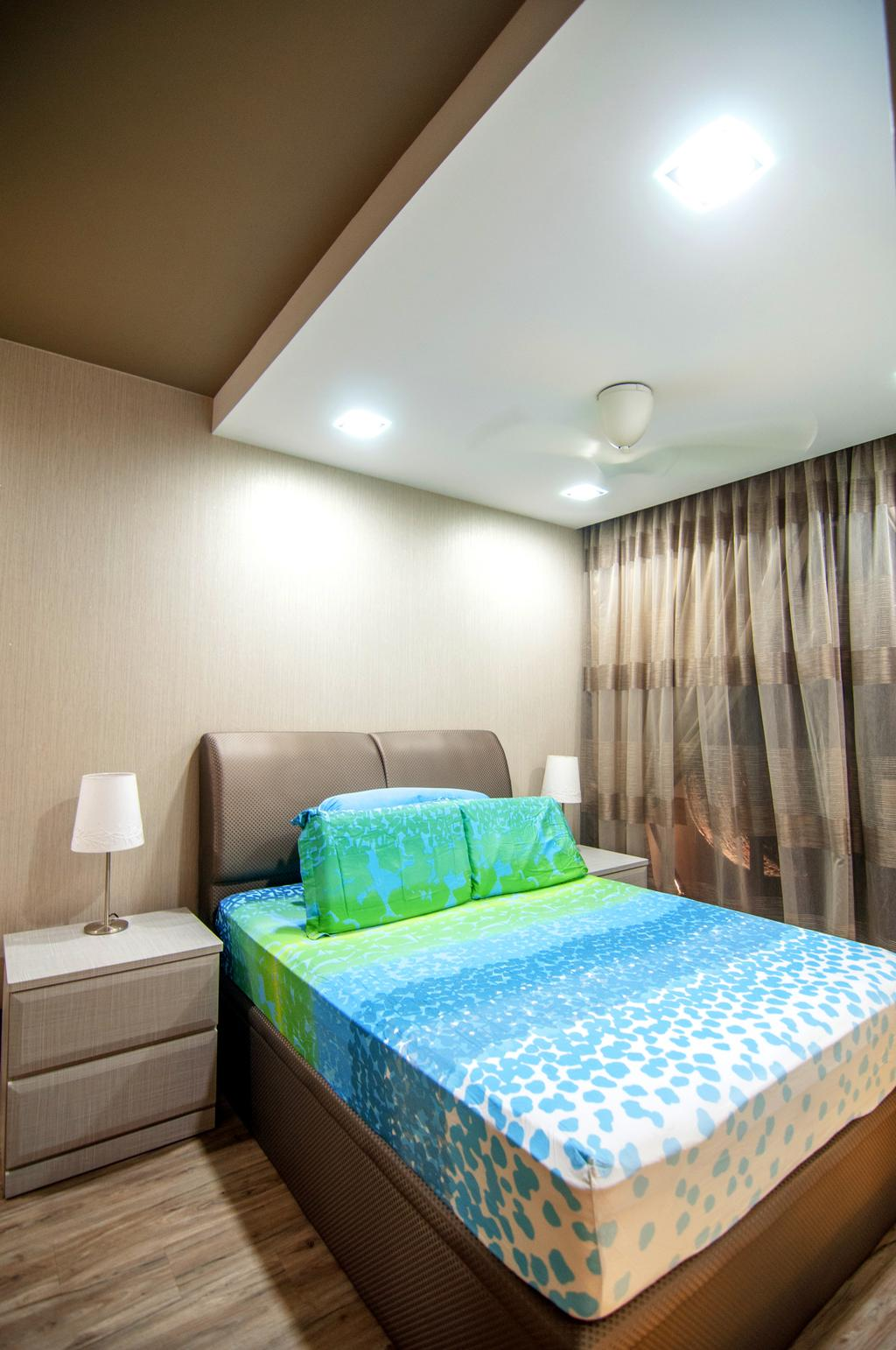 Contemporary, Condo, Bedroom, Blossom Residences (Block 30), Interior Designer, IdeasXchange, False Ceiling, Headboard, Super Single Be, Downlight, Brown, Couch, Furniture, Chair, Lamp, Table Lamp, Indoors, Interior Design, Room