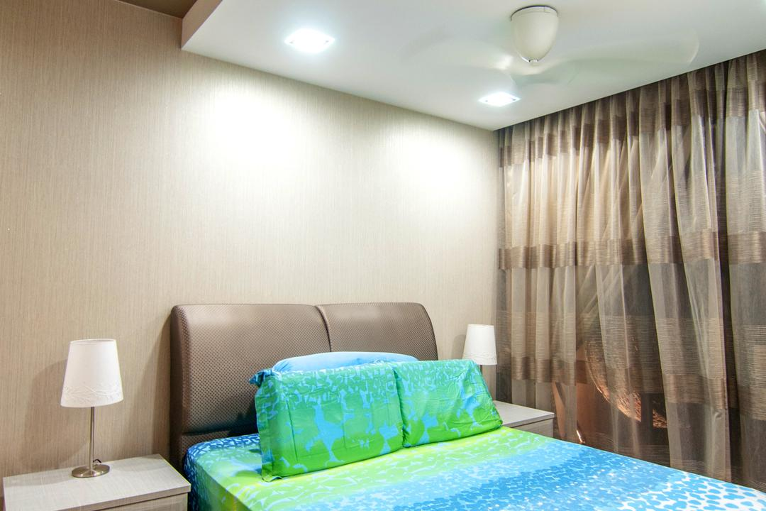 Blossom Residences (Block 30), IdeasXchange, Contemporary, Bedroom, Condo, False Ceiling, Headboard, Super Single Be, Downlight, Brown, Couch, Furniture, Chair, Lamp, Table Lamp, Indoors, Interior Design, Room