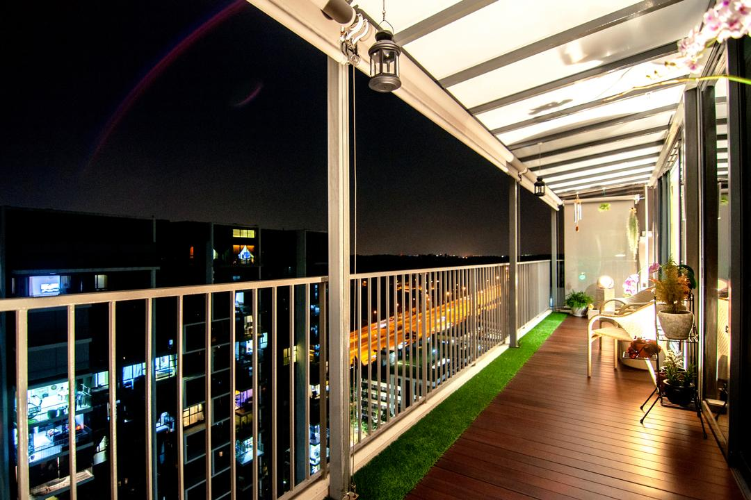 Blossom Residences (Block 30), IdeasXchange, Contemporary, Balcony, Condo, Wood Floor, Wooden Flooring, Wood Panels, Artificial Grass Flooring, Grass Flooring, Night View