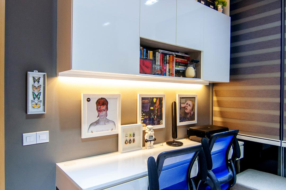 Blossom Residences (Block 30), IdeasXchange, Contemporary, Study, Condo, Study Table, Office Chair, Work Station, Work Area, Under Cabinet Lighting, Wall Frames, Photo Frames, Top Cabinet, Shelves, Cabinetry, Aircon, Human, People, Person, Indoors, Interior Design
