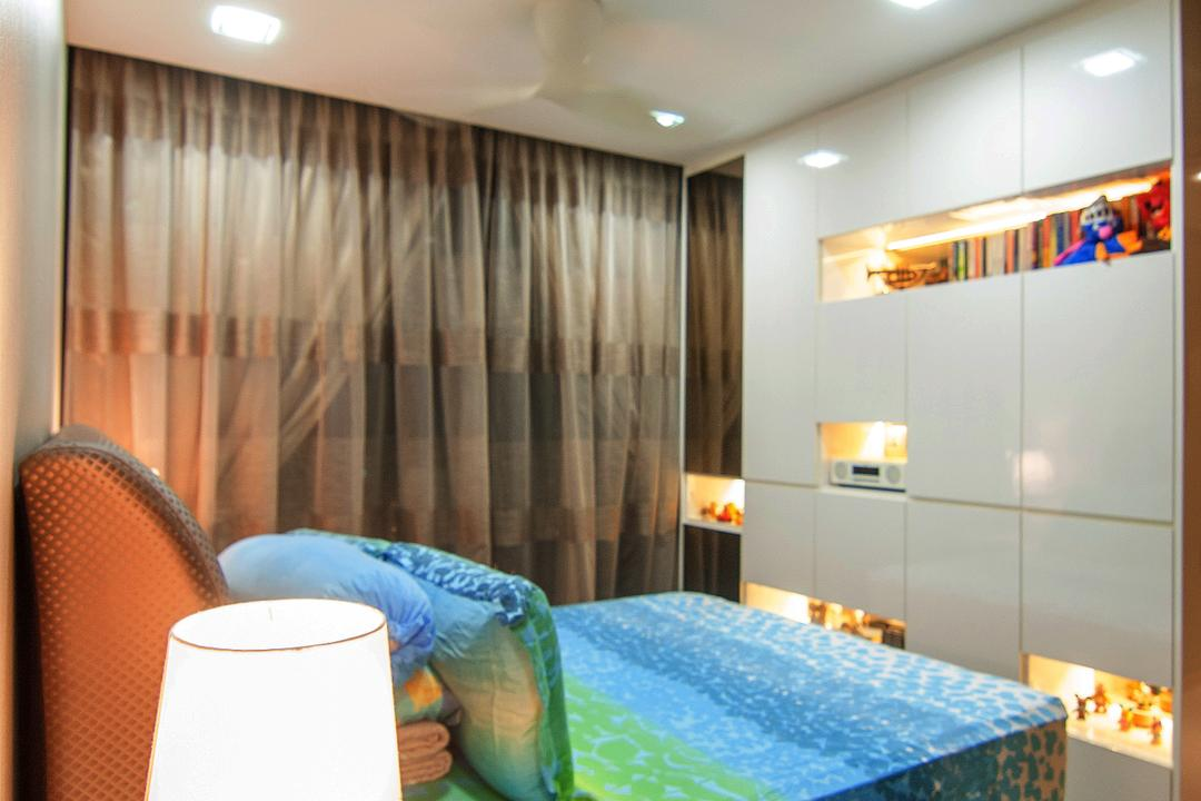 Blossom Residences (Block 30), IdeasXchange, Contemporary, Bedroom, Condo, Bedside Table, Table Lamp, Cabinetry, Cabinet, Shelving, Recessed Shelves, Downlight, Chair, Furniture, Indoors, Interior Design, Room, Cup