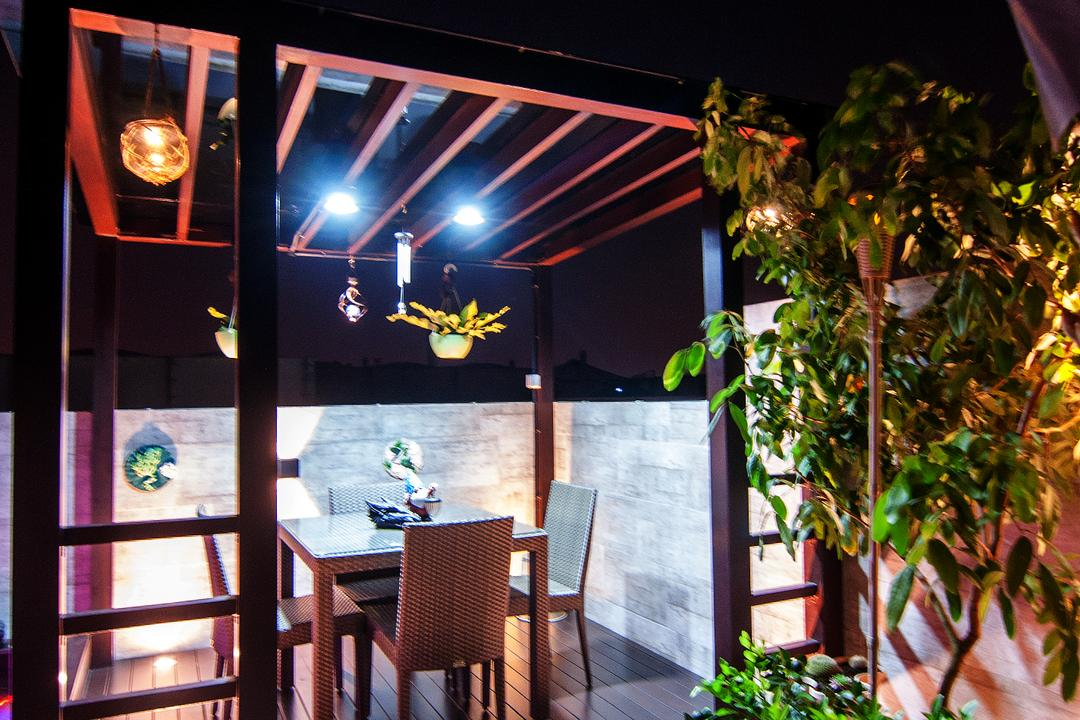 Blossom Residences (Block 30), IdeasXchange, Contemporary, Balcony, Condo, Trellis, Patio, Wooden Beams, Plants, Potted Plants, Dining Table, Platform, Dining Chairs, Flora, Jar, Plant, Potted Plant, Pottery, Vase, Chair, Furniture, Cafe, Restaurant, Lighting