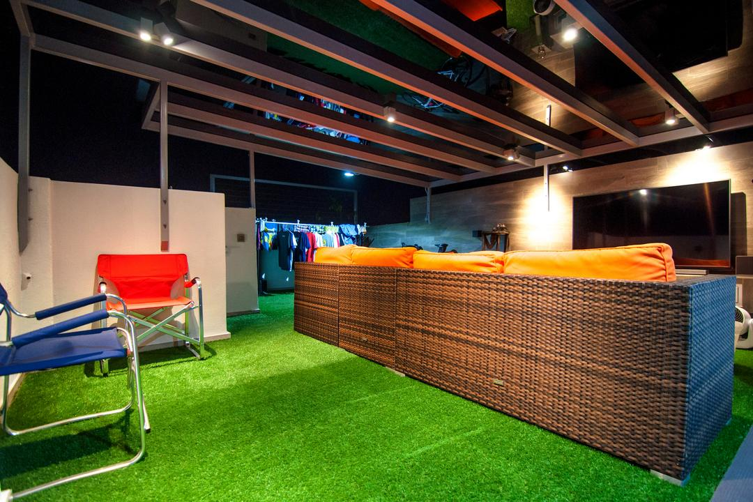 Blossom Residences (Block 32), IdeasXchange, Eclectic, Living Room, Condo, Carpet, Green Carpet, Artificial Grass Carpet, Chairs, Wooden Beams, Beams, Feature Wall, Blue Chair, Orange Chair, Chair, Furniture