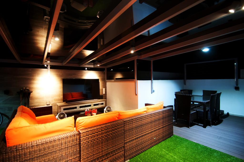 Eclectic, Condo, Living Room, Blossom Residences (Block 32), Interior Designer, IdeasXchange, Wooden Beams, Beams, Sofa, Orange, Colourful, Colours, Striking Colours, Colour Pop, Electronics, Entertainment Center, Home Theater, Fireplace, Hearth