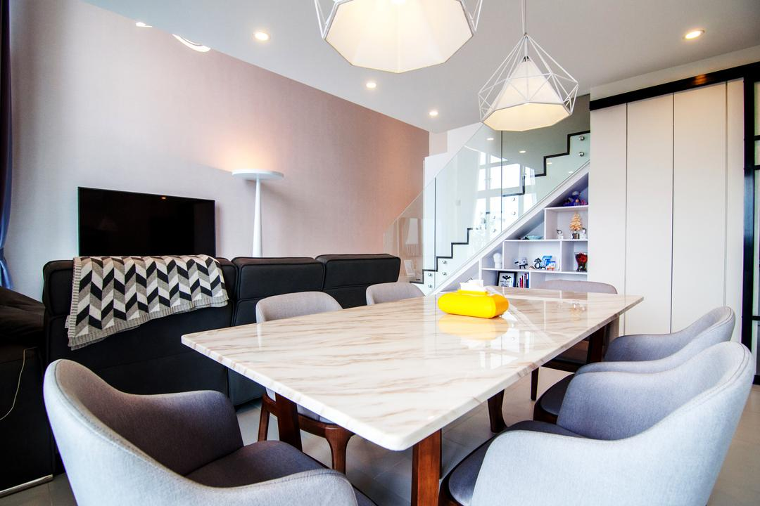 SkyTerrace @ Dawson, IdeasXchange, Contemporary, Dining Room, HDB, Dining Table, Marble Table, Dining Chairs, Chairs, Pendant Lamp, Hanging Lamp, Simple Colours, Storage Under Stairs, Clean, Cabinet, White Cabinet, Downlight, Chair, Furniture, Table, Indoors, Interior Design, Room