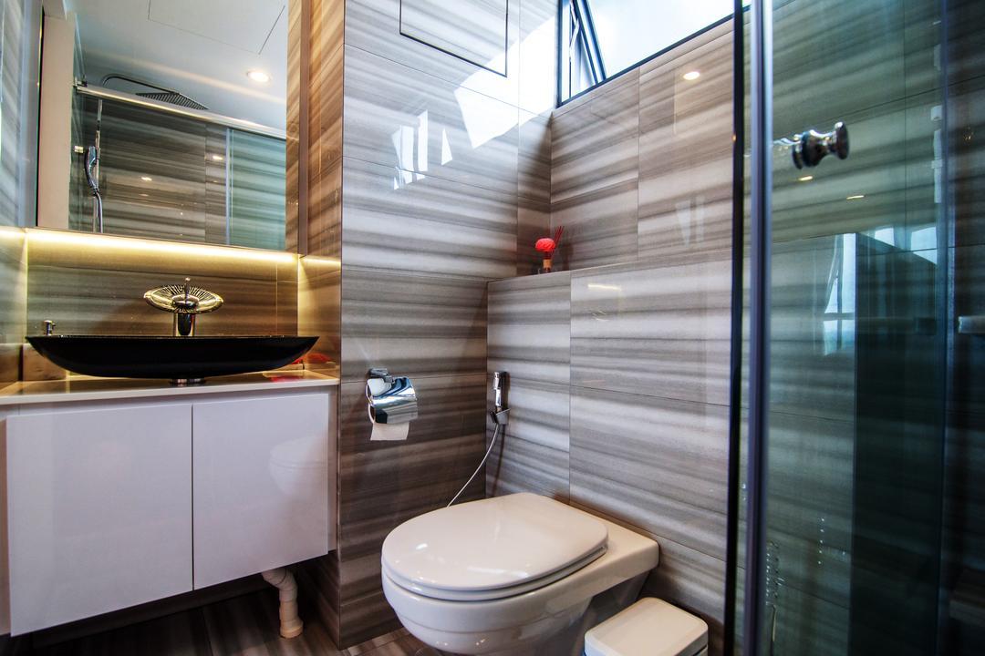 SkyTerrace @ Dawson, IdeasXchange, Contemporary, Bathroom, HDB, Bathroom Tiles, Stripes, Stripes Tiles, Bathroom Vanity, Mirror, Vessel Sink, Bathroom Cabinet, Toilet Bowl, Toilet