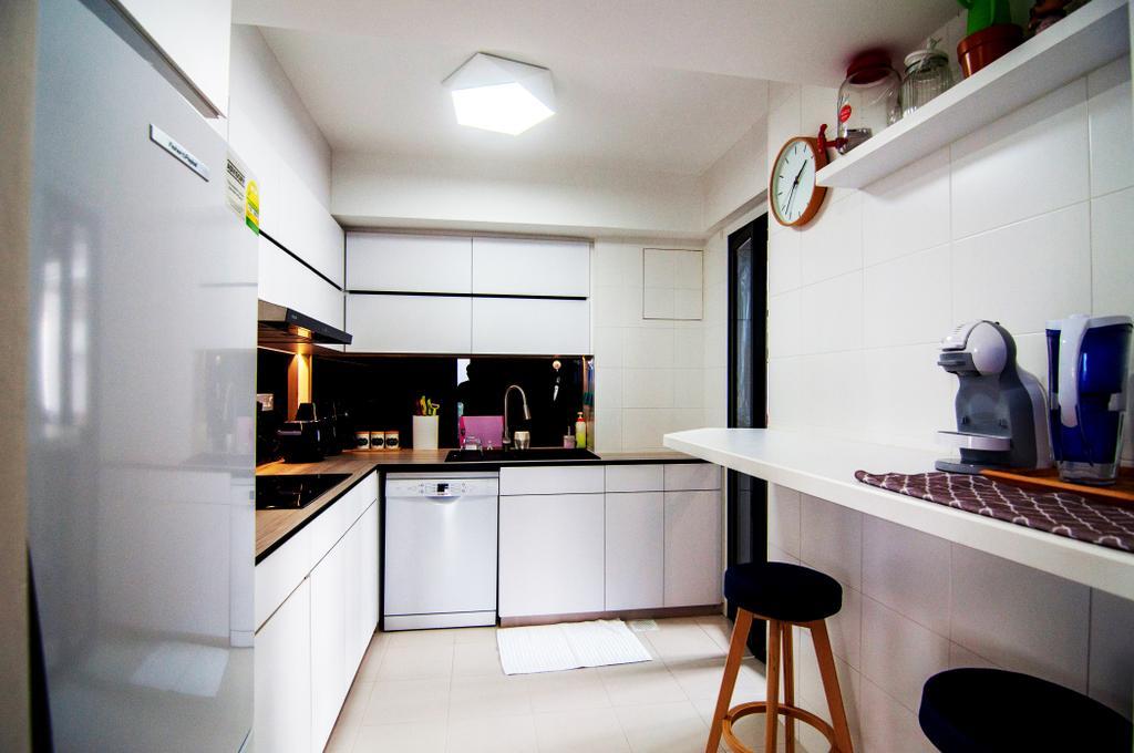 Contemporary, HDB, Kitchen, SkyTerrace @ Dawson, Interior Designer, IdeasXchange, Wall Ledge, Stool, Kitchen Stool, Wall Shelf, Kicthen Cabinet, Kitchen Cabinetry, Refrigerator, White Cabinet, Bar Stool, Furniture