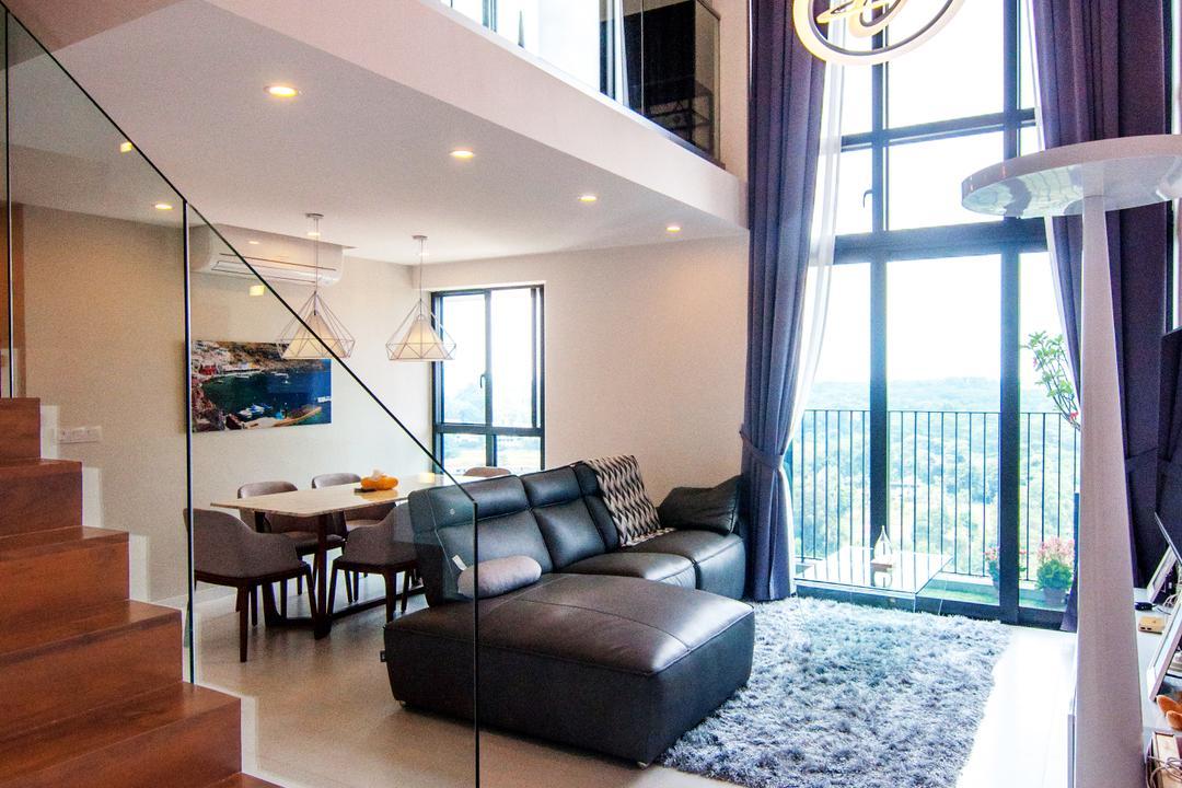 SkyTerrace @ Dawson, IdeasXchange, Contemporary, Living Room, HDB, Loft, High Ceiling, L Shaped Sofa, Leather Sofa, Carpet, Clean, Clean Cut, Maisonette, Window, Couch, Furniture, Dining Table, Table