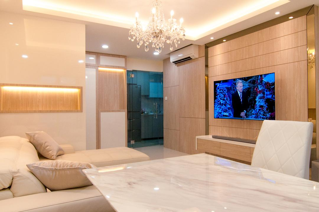 Toa Payoh Central (Block 79D), IdeasXchange, Modern, Living Room, HDB, Dining Table, Marble, Marble Table, Chandelier, Cove Lighting, Brown, Light Brown, Indoors, Interior Design, Couch, Furniture