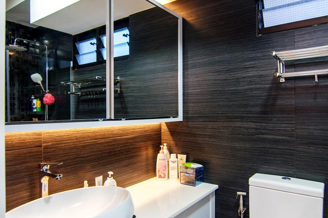 Toa Payoh Central (Block 79D), IdeasXchange, Modern, Bathroom, HDB, Bathroom Vanity, Vessel Sink, Bathroom Cabinet, Mirror, Under Cabinet Lighting, Water Closet, Toilet Bowl, Bathroom Tiles, Black Wall, Towel Rack