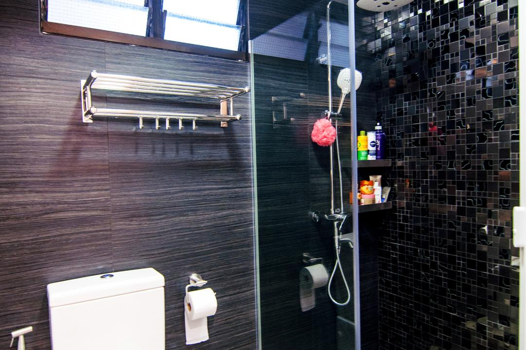 Toa Payoh Central (Block 79D), IdeasXchange, Modern, Bathroom, HDB, Shower Screen, Towel Rack, Water Closet, Toilet Bowl, Black Tiles, Dark Coloured Tiles