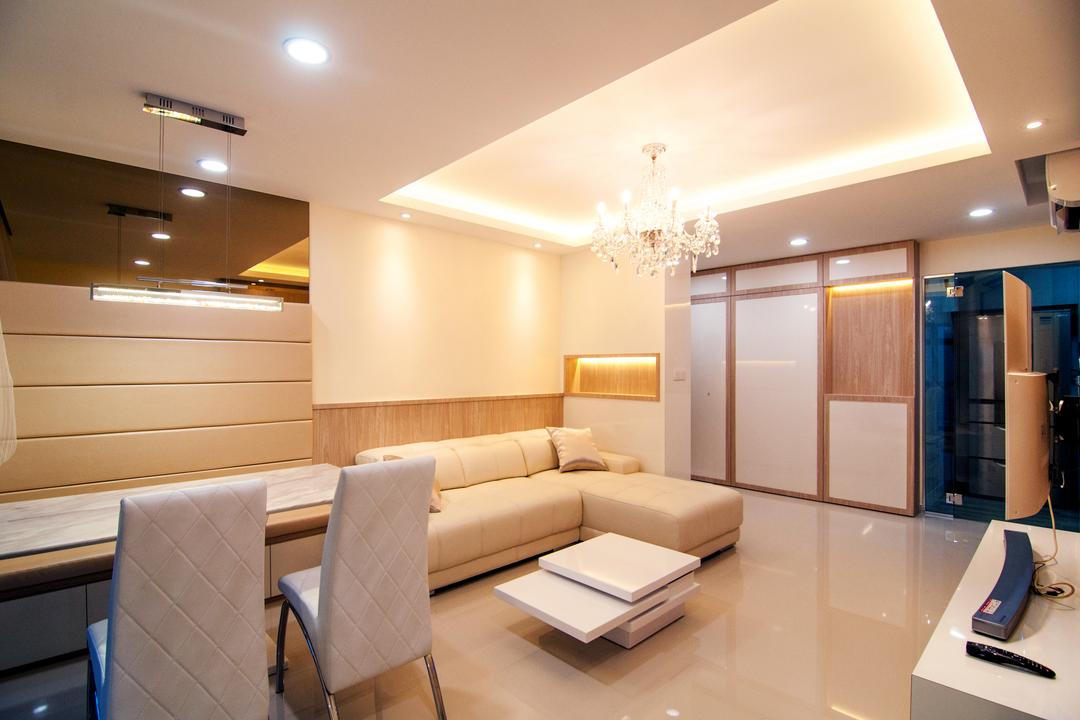 Toa Payoh Central (Block 79D), IdeasXchange, Modern, Living Room, HDB, Simple Colours, L Shaped Sofa, Sofa, Chandelier, Cove Lighting, False Ceiling, Coffee Table, Extending Table, Cushioned Wall, Gold, Warm Lighting, Floor Tiles, Couch, Furniture, Indoors, Interior Design, Chair