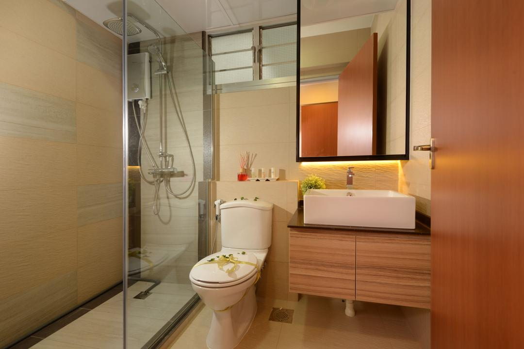 Anchorvale Street, Eight Design, Contemporary, Bathroom, HDB, Bathroom Vanity, Bathroom Sink, Under Cabinet Lighting, Mirror, Vessel Sink, Bathroom Cabinet, Shower Screen, Water Closet, Toilet Bowl, Shower Head, Rainshower