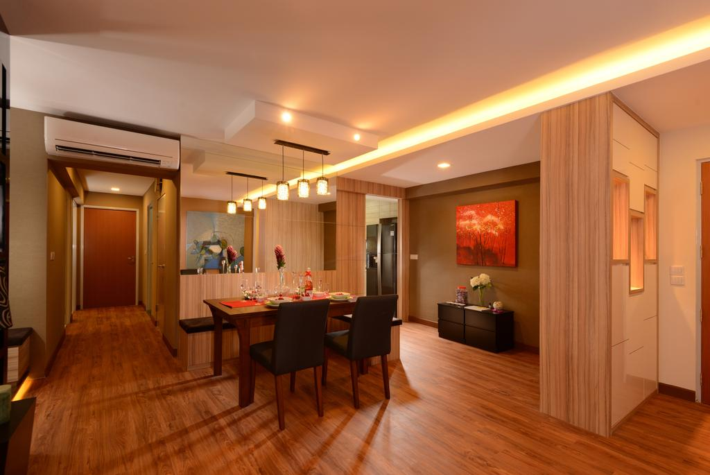 Contemporary, HDB, Dining Room, Anchorvale Street, Interior Designer, Eight Design, Wood Floor, Wooden Flooring, Brown, Dining Table, Dining Chairs, Cove Lighting, Partition, Shoe Cabinet, Cabinetry, Walkway, Hallway, Painting, Side Cabinet, Pendant Lamp, Hanging Lamp, Aircon