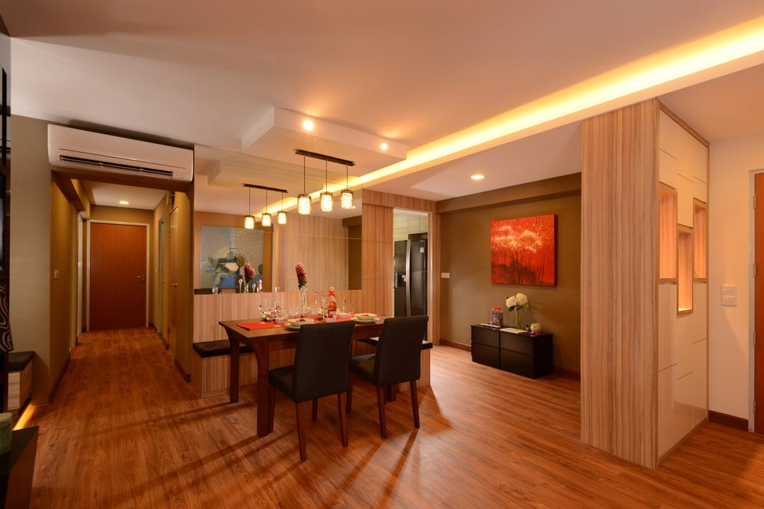 Anchorvale Street, Eight Design, Contemporary, Dining Room, HDB, Wood Floor, Wooden Flooring, Brown, Dining Table, Dining Chairs, Cove Lighting, Partition, Shoe Cabinet, Cabinetry, Walkway, Hallway, Painting, Side Cabinet, Pendant Lamp, Hanging Lamp, Aircon