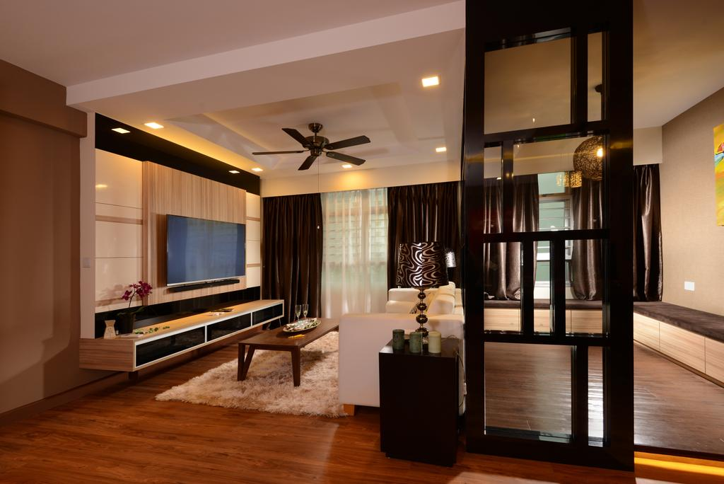 Contemporary, HDB, Living Room, Anchorvale Street, Interior Designer, Eight Design, Tv Console, Floating Console, Feature Wall, Downlight, Ceiling Fan, Platform, Coffee Table, Rectangular Coffee Table, Carpet, Wood Floor, Wooden Flooring, Partition