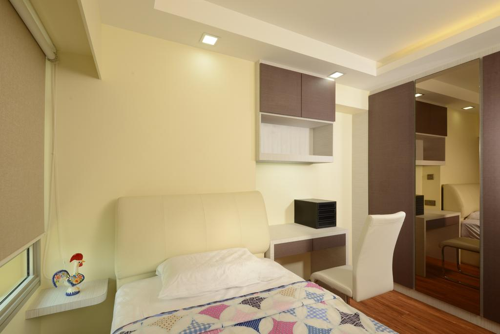 Modern, HDB, Bedroom, Punggol Central, Interior Designer, Eight Design, Top Cabinet, Wardrobe, Single Bed, Headboard, Bedside Table, Wall Ledge