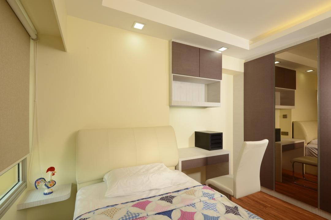 Punggol Central, Eight Design, Modern, Bedroom, HDB, Top Cabinet, Wardrobe, Single Bed, Headboard, Bedside Table, Wall Ledge