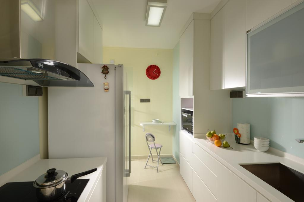 Modern, HDB, Kitchen, Punggol Central, Interior Designer, Eight Design, Exhaust Hood, Stove, Kitchen Cabinet, Cabinetry, White Cabinet, Simple Kitchen, White Kitchen, Refrigerator, Narrow Layout