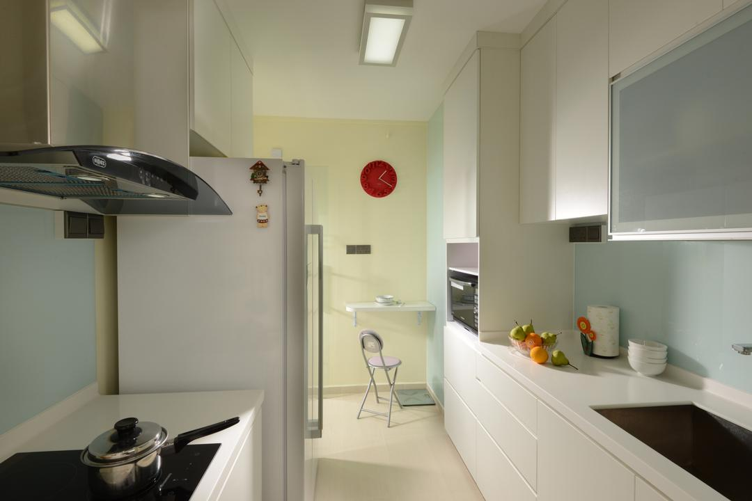 Punggol Central, Eight Design, Modern, Kitchen, HDB, Exhaust Hood, Stove, Kitchen Cabinet, Cabinetry, White Cabinet, Simple Kitchen, White Kitchen, Refrigerator, Narrow Layout