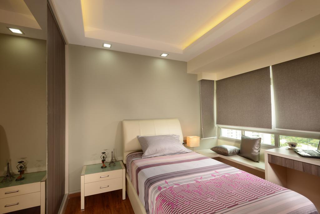 Modern, HDB, Bedroom, Punggol Central, Interior Designer, Eight Design, Single Bed, Headboard, Bedside Table, Small Table, Bay Window, Blinds, Roller Blinds