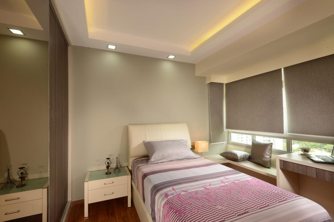 Punggol Central, Eight Design, Modern, Bedroom, HDB, Single Bed, Headboard, Bedside Table, Small Table, Bay Window, Blinds, Roller Blinds