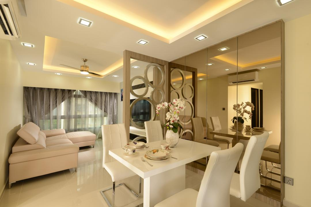 Punggol Central, Eight Design, Modern, Dining Room, HDB, Dining Table, Dining Chairs, White Table, White Chairs, White Furniture, Mirror, Dining Room Mirror, Partition, Cove Lighting, Downlight, L Shaped Sofa, Sectionals, Aircon, Curtains, Light Colours