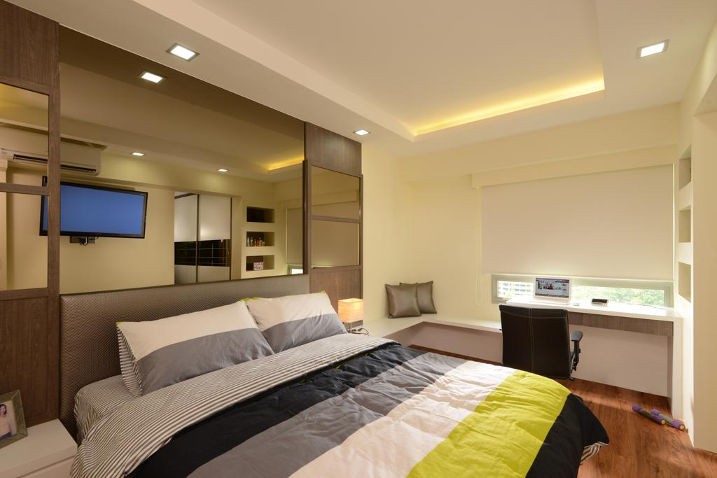 Modern, HDB, Bedroom, Punggol Central, Interior Designer, Eight Design, Study Table, Office Chair, Blinds, Roller Blinds, Reflective Panels, Mirror Panels, Feature Wall